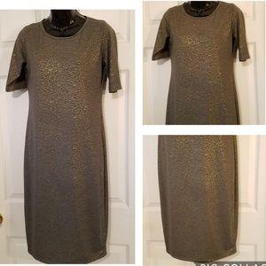Lularoe Julia Short Sleeve Dress Gray Gold